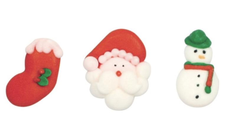 Sukkerdekoration med julemotiver, julemotiver på sukkerdekorationer,
